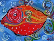 Puffer Fish Paintings - Kisser Puff by Mary DeSilva