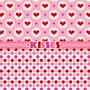 Valentines Day Posters - Kisses Poster by Debra  Miller