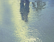 Reflections Of Sun In Water Prints - Kissing Couple With Palm Reflection Print by Cindy Lee Longhini