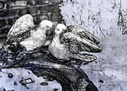 Pour Digital Art Prints - Kissing Doves Print by Janice Rae Pariza