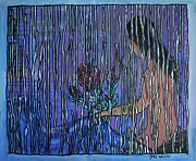 Saint Jean Art Gallery Posters - Kissing Rain Poster by Barbara St Jean