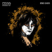 1980 Digital Art Prints - KISSs Eric Carr Print by David E Wilkinson