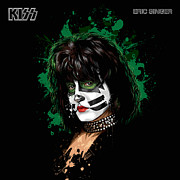 Beat Digital Art Posters - KISSs Eric Singer Poster by David E Wilkinson