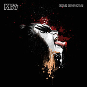1980 Digital Art Prints - KISSs Gene Simmons Print by David E Wilkinson
