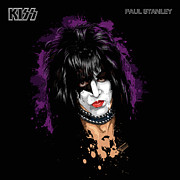 Band Digital Art - KISSs Paul Stanley by David E Wilkinson