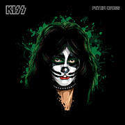 Tear Painting Posters - KISSs Peter Criss Poster by David E Wilkinson