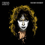 1980 Digital Art Prints - KISSs Vinnie Vincent Print by David E Wilkinson