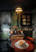 Cabinet Prints - Kitchen - 1908 kitchen Print by Mike Savad