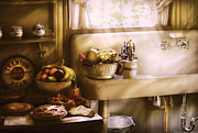 Iron  Posters - Kitchen - A 1930s Kitchen  Poster by Mike Savad