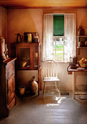 Curtains Photo Framed Prints - Kitchen - A cottage kitchen  Framed Print by Mike Savad