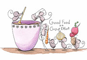 Animal Drawings - Kitchen Art Cooking Mice by Christy Beckwith