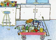 Culinary Drawings Prints - Kitchen Caddy Print by Mag Pringle Gire