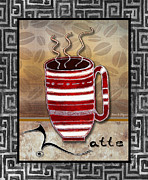 Licensed Art Prints - Kitchen Cuisine Hot Cuppa Coffee Cup Mug Latte Drink by Romi and Megan Print by Megan and Romi