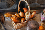 Basket Photo Posters - Kitchen - Food - Bread - Fresh bread  Poster by Mike Savad