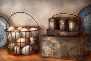 Basket Posters - Kitchen - Food - Eggs - Fresh this morning Poster by Mike Savad