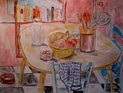 """indoor"" Still Life  Painting Posters - Kitchen in Nashville Poster by Lucille Femine"