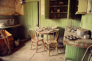 Grime Framed Prints - Kitchen Interior Of Abandoned Minning Shack In Bodie California Framed Print by Kriss Russell