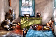 Colonial Scene Prints - Kitchen - Old fashioned kitchen Print by Mike Savad