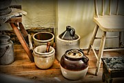 Jugs Photo Posters - Kitchen Old Stoneware Poster by Paul Ward