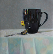 Label Originals - Kitchen Reflections in a Tall Black Mug by Charmaine P Jackson