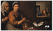 Religious Art Painting Prints - Kitchen Scene with Christ in the House of Martha and Mary Print by Diego Velazquez
