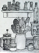 Featured Drawings Framed Prints - Kitchen Still Life Framed Print by Richard Allen