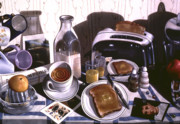 Still Life Kitchen Posters - KITCHEN TABLE no.2 1994  Skewed perspective series 1991 - 2000 Poster by Larry Preston