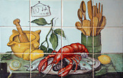 Sausages Posters - Kitchen tiles art Fish Poster by Filippo B