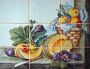 Sausages Posters - Kitchen tiles art Fruits Poster by Filippo B