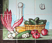 Sausages Posters - Kitchen tiles art Vegetables Poster by Filippo B