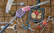 Cork Screw Paintings - Kitchen tools by Marisa Gabetta