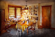 Tables Framed Prints - Kitchen - Typical farm kitchen  Framed Print by Mike Savad