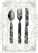 Dining Room Mixed Media Posters - Kitchen Utensils Print Poster by Anahi DeCanio