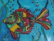 Fish Glass Art Posters - Kite fish Poster by Meghna Suvarna