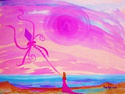 Gown Paintings - Kite Flying on Ocean by Peggy Leyva Conley