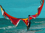 Puerto Rico Digital Art Prints - Kite Surfer at Ocean Park Beach in Puerto Rico Print by Estefan Gargost