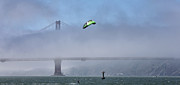 Kite Surfing Metal Prints - Kite Surfing Golden Gate Metal Print by Chuck Kuhn