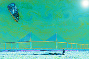 Wind Surfing Art Posters - Kiteboarding the Bay Poster by David Lee Thompson