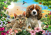 Kitten And Puppy Print by Adrian Chesterman