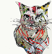 Mixed Media Collages Prints - Kitten Print by Brian Buckley