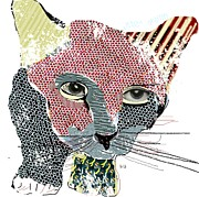 Pet Portraits Mixed Media Acrylic Prints - Kitten Graffiti Acrylic Print by Brian Buckley