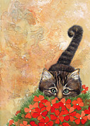 Kitten Prints Posters - Kitten in Poppies Poster by Darlene Fletcher