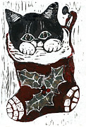 Relief Print Prints - Kitten inside a Christmas Stocking  Print by Ellen Miffitt