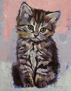 Modern Realism Oil Paintings - Kitten by Michael Creese