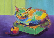 Fanciful Pastels Metal Prints - Kitten on a box Metal Print by Diana Tripp