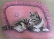 Cat Portraits Pastels Prints - Kitten on Pink Pillow Print by Melinda Saminski