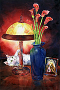 Playing Painting Originals - Kitten playing with lamp by Jim Bates