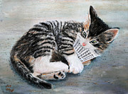 Birdseye Painting Posters - Kitten with Birdie Poster by Nick Payne