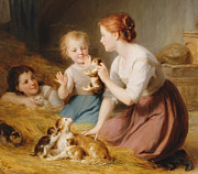 Amazing Painting Prints - Kittens Print by Fritz Zuber-Buhler