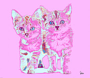 Kittens Digital Art - Kittens in Pink by Dennis Salon